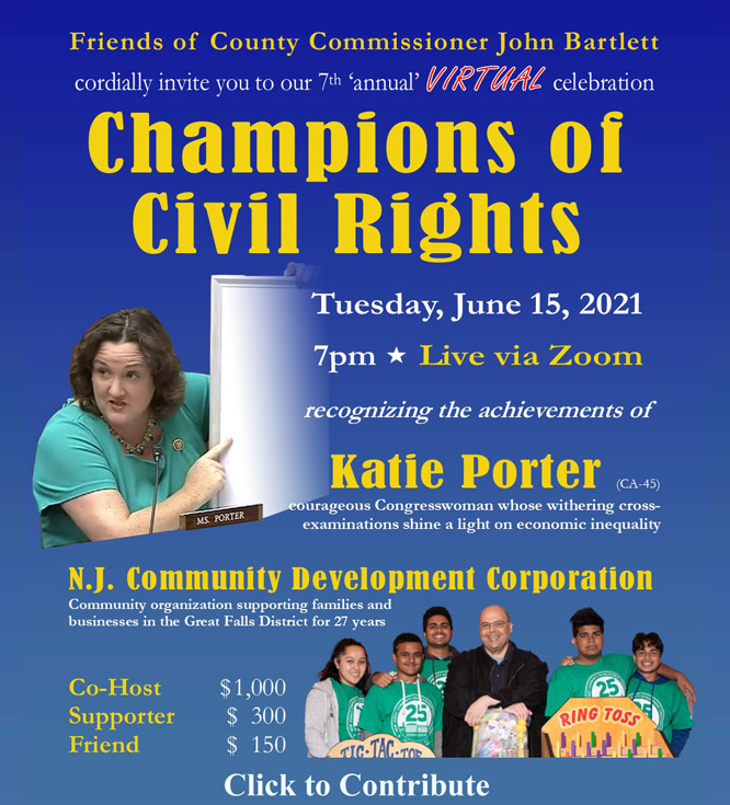 Tuesday, June 15th 7 pm live via Zoom recognizing Katie Port, Congresswoman, and NJ Community Dev. Corp. Supporters - $300, Friends $150. Click to donate.